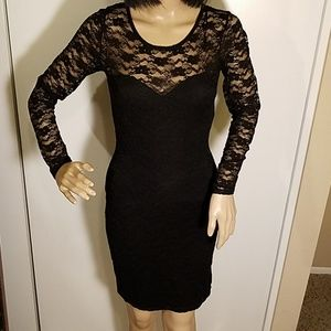 H&M Black Lace Illusion Neckline Dress